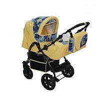 Kasper: Коляска трансформер Candice Цветы желтый (колёса пласт моск. сетка сумка дождевик)