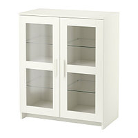 Шкаф с дверями БРИМНЭС стекло белый ИКЕА, IKEA , фото 1