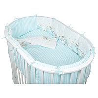 Комплект белья для овальной кроватки Pituso Мишки 6 предметов голубой