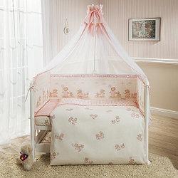 Комплект в кроватку Perina ТИФФАНИ Неженка 7 предметов, молочно-розовый