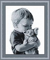 """Набор для вышивания крестом """"Мальчик с котенком"""""""