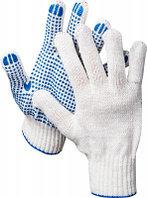 DEXX перчатки рабочие, х/б 7 класс, с ПВХ покрытием (точка)