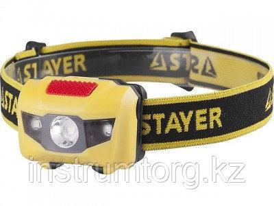 """Фонарь STAYER """"MASTER"""" MAXLight налобный светодиодный, 1Вт(80Лм)+2LED, 4 режима, 3ААА"""