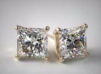 GIA Принцесса  2.02Ct K/SI1 EX-Cut Золотые серьги пуссеты с бриллиантами, фото 1