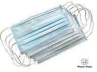 Маска медицинская одноразовая 3-х слойная на резинке