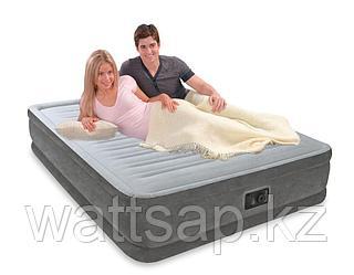 Кровать надувная Intex  152х203х33 см, max 273 кг Intex 67770, поверхность флок, встроенный насос