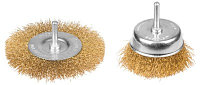 """Набор STAYER """"PROFI"""": Щетки-крацовки, витая латунированная стальная проволока 0,3мм, дисковая 100мм, чашечная"""