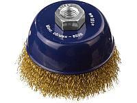 DEXX. Щетка чашечная для УШМ, витая стальная латунированная проволока 0,3мм, 100ммхМ14, фото 1