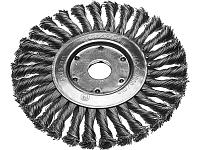 Щетка STAYER дисковая для УШМ, сплет в пучки стальн зак провол 0,5мм, 175мм/22мм, фото 1