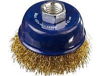 DEXX. Щетка чашечная для УШМ, витая стальная латунированная проволока 0,3мм, 60ммхМ14, фото 1