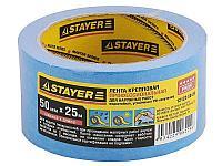 Лента STAYER малярная креповая, водостойкая с УФ-защитой, 50мм х 25м