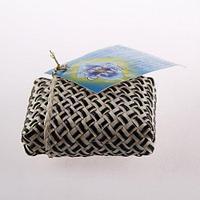 Кристалл сглаженной прямоугольной формы в футляре из пальмы Пандан, фото 1