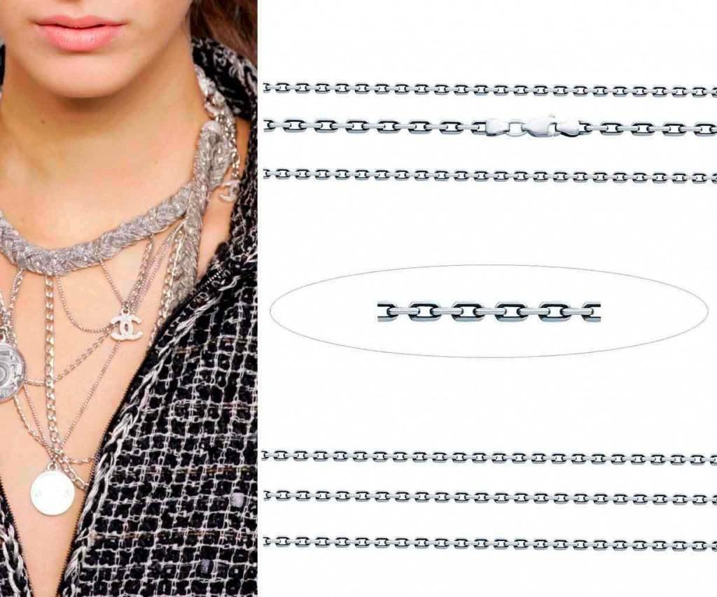 Серебряная цепочка якорного плетения