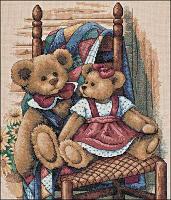 """Набор для вышивания крестом """"Мишки на стуле"""""""