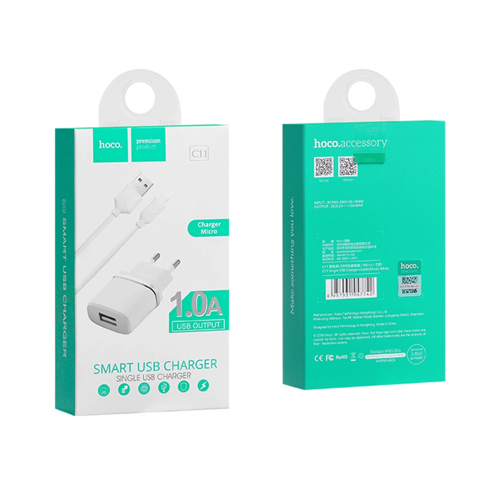 Зарядное устройство Hoco C11 1A Micro USB