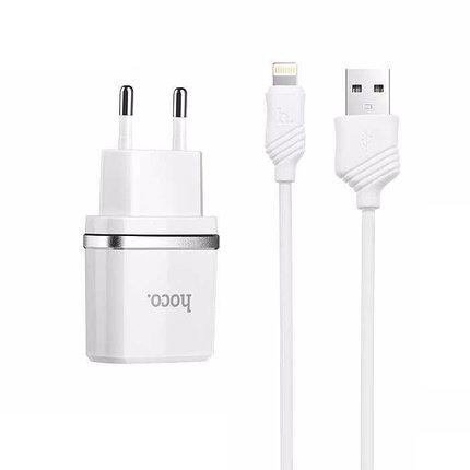 Зарядное устройство Hoco C12 2.4A Lightning USB, фото 2