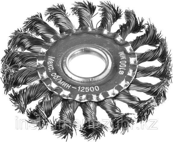 DEXX. Щетка дисковая для УШМ, жгутированная стальная проволока 0,5мм, 100ммх22мм, фото 2