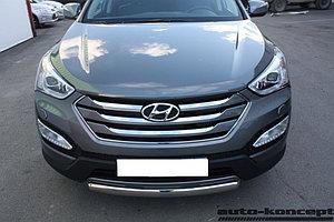 Защита передняя малая (ОВАЛ) D 75х42  Hyundai Santa FE 2012-2015.
