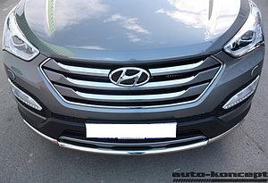 Защита передняя двойная D 60,3/42,4 Hyundai Santa FE 2012-2015.