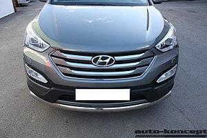 Защита передняя большая (ОВАЛ) D 75х42 Hyundai Santa FE 2012-2015.