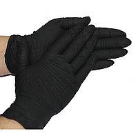 Черные перчатки нитриловые 100шт, S,M,L