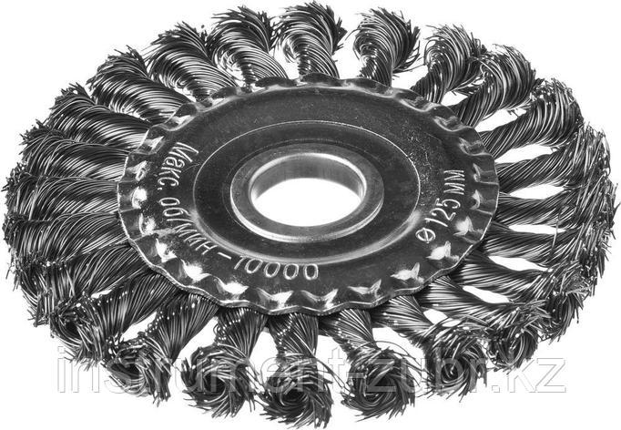 DEXX. Щетка дисковая для УШМ, жгутированная стальная проволока 0,5мм, 125ммх22мм, фото 2