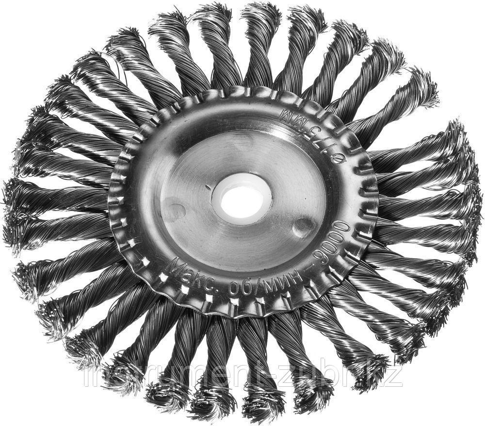 DEXX. Щетка дисковая для УШМ, жгутированная стальная проволока 0,5мм, 175ммх22мм