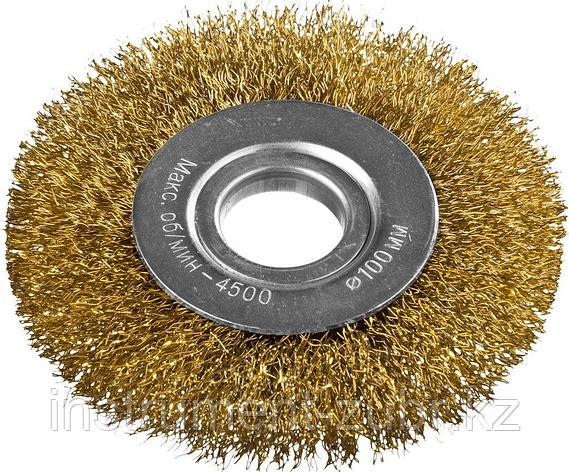 DEXX. Щетка дисковая для УШМ, витая стальная латунированная проволока 0,3мм, 100ммх22мм, фото 2