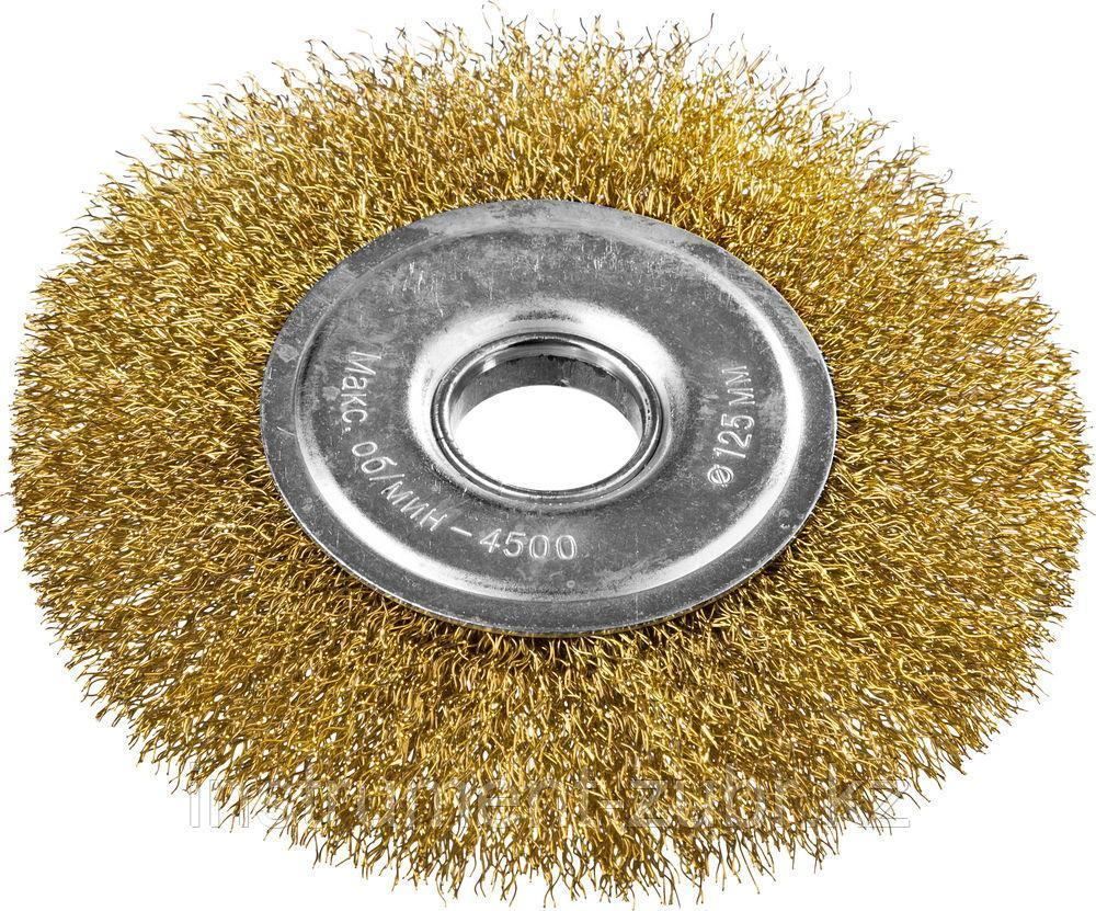 DEXX. Щетка дисковая для УШМ, витая стальная латунированная проволока 0,3мм, 125ммх22мм