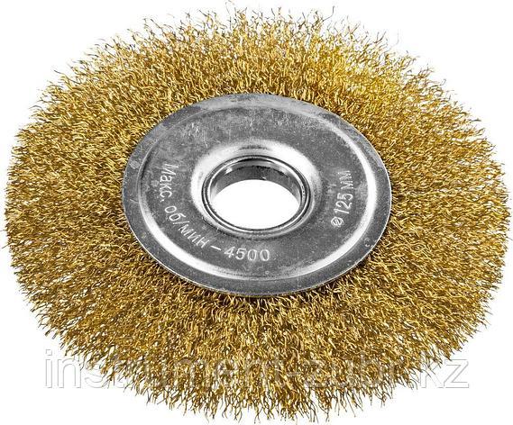 DEXX. Щетка дисковая для УШМ, витая стальная латунированная проволока 0,3мм, 125ммх22мм, фото 2