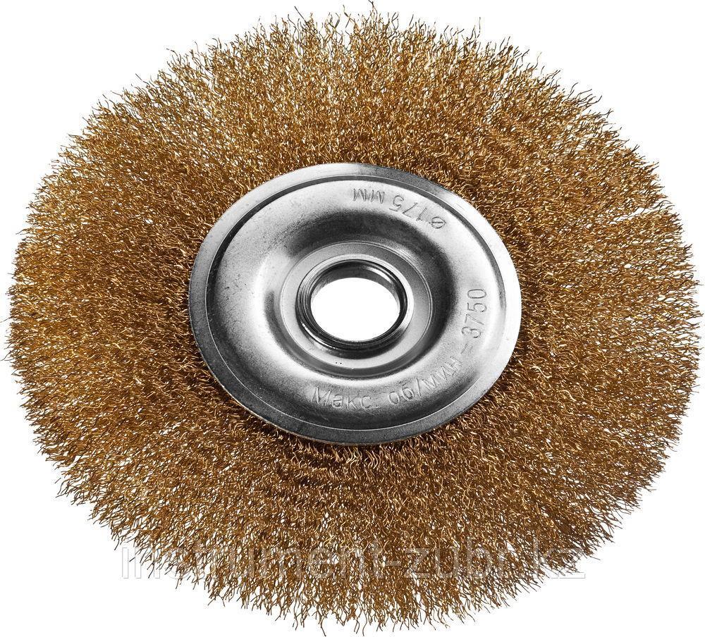 DEXX. Щетка дисковая для УШМ, витая стальная латунированная проволока 0,3мм, 175ммх22мм