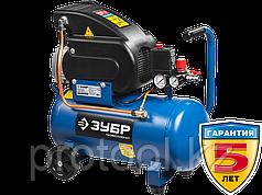 Компрессор воздушный, ЗУБР Профессионал ЗКПМ-240-24-1.5, поршневой, масляный, прямой привод, 240 л/мин, 24 л,