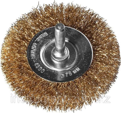 DEXX. Щетка дисковая для дрели, витая стальная латунированная проволока 0,3мм, 75мм, фото 2