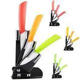 Керамические ножи  на подставке 3 шт цветные + овощичистка, фото 4