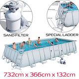 Каркасный бассейн Bestway 56475 (732x366x132) песочный фильтр, фото 3