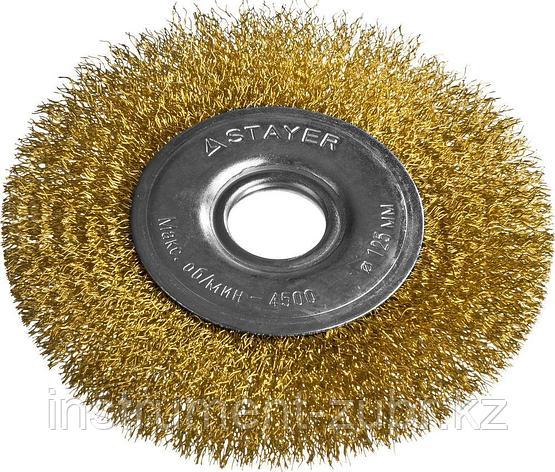 """STAYER """"PROFESSIONAL"""". Щетка дисковая для УШМ, витая стальная латунированная проволока 0,3мм, 125ммх22мм, фото 2"""