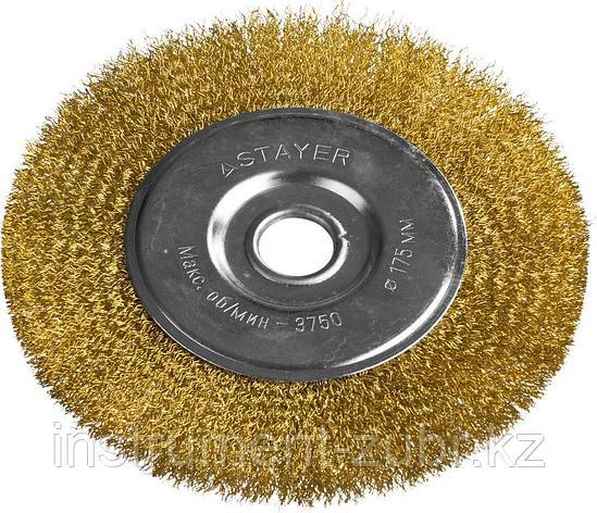 """STAYER """"PROFESSIONAL"""". Щетка дисковая для УШМ, витая стальная латунированная проволока 0,3мм, 175ммх22мм, фото 2"""