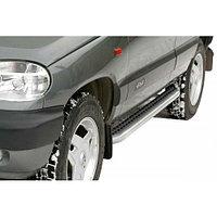 Пороги железные плоские с резинкой «Эксклюзив» Нива Chevrolet 2123, фото 1