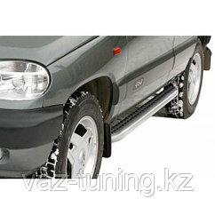 Пороги железные плоские с резинкой «Эксклюзив» Нива Chevrolet 2123