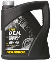 Моторное масло MANNOL O.E.M. for Renault Nissan 5w40 4 литра