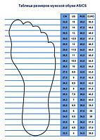 Таблица размеров мужской обуви Asics