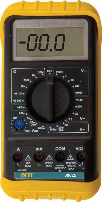 (80625) Мультиметр 0,1мВ-1000В; 0,1В-750В; 1мкА-20А; 0,1Ом-20МОм; короб.