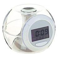 Часы-будильник, дата, время, температура, 7 цветов дисплея, 6 звуков, 3 AAA, прозрачный, фото 1