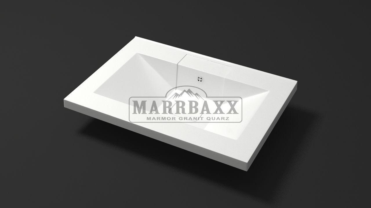 Умывальник из искусственного гранита MARRBAXX  серия Granit MARR Джуди V7  белый (662 мм)