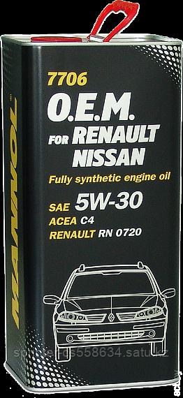 Моторное масло MANNOL O.E.M. for Renault Nissan C4 5w30 5 литров