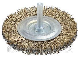Щетка дисковая для дрели, стальная со шпилькой, 100мм
