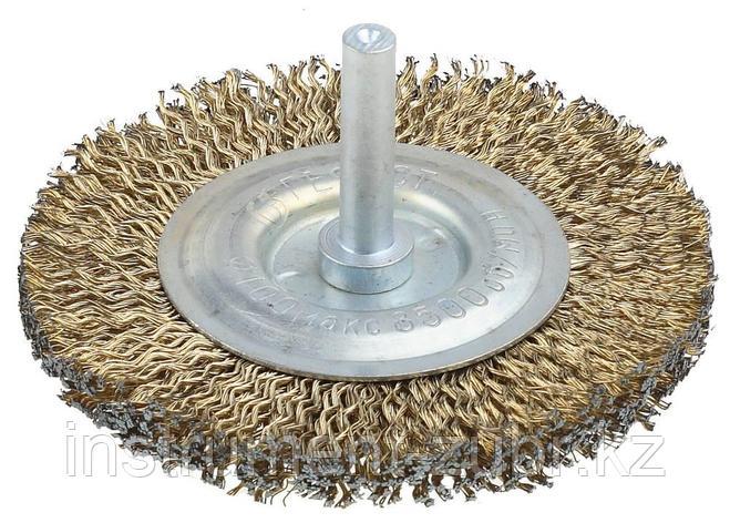 Щетка дисковая для дрели, стальная со шпилькой, 100мм                                                                   , фото 2