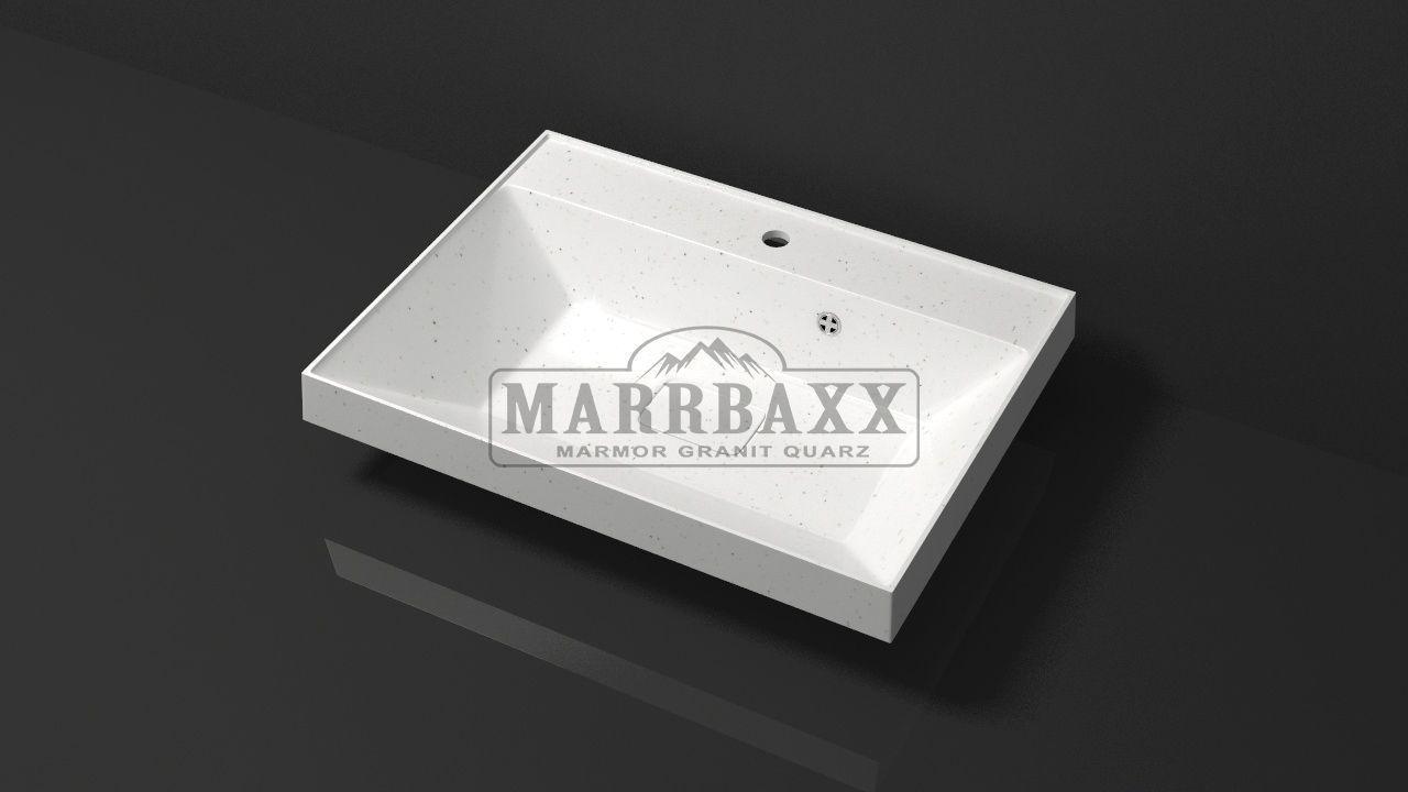 Умывальник из искусственного гранита MARRBAXX  серия Granit MARR   Дакота V16  белый (605 мм)