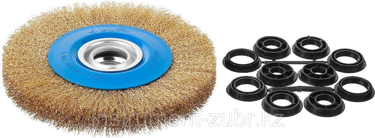 """ЗУБР """"ПРОФЕССИОНАЛ"""". Щетка дисковая для точильно-шлифовального станка, витая стальная латунирован проволока 0,3мм, 200х32мм"""