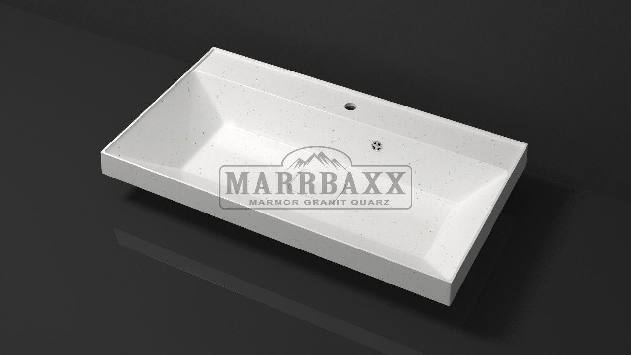 Умывальник из искусственного гранита MARRBAXX  серия Granit MARR  Черри V14  белый (754 мм)